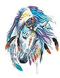 DIY Malen Nach Zahlen für Erwachsene und Kinder Vorgedruckt Leinwand-Ölgemälde Kits Mit Holzrahmen für Home Haus Dekor mit MEHRWEGVerpackung - Weißes Pferd mit Mark 16 * 20 Inch