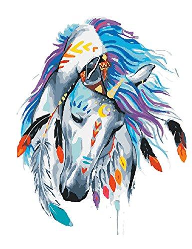 DIY Vorgedruckt Leinwand-Ölgemälde Geschenk für Erwachsene Kinder Malen Nach Zahlen Kits Home Haus Dekor - Weißes Pferd mit Mark 40*50 cm