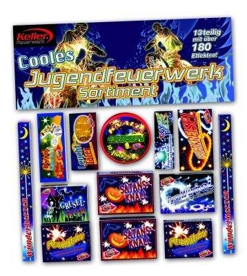 Keller Cooles Jugenfeuerwerk KINDERFEUERWERK 13-teilig über 180 Effekte! Wunderkerzen,Feuerkreisel,Knallerbsen,Leuchttaler,Pyro-Wirbel