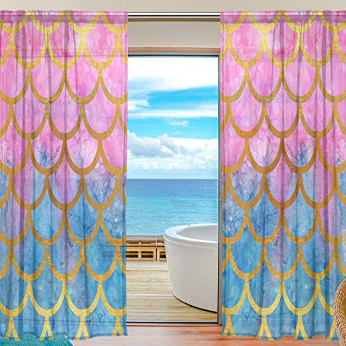 Bigjoke Window Sheer Curtain Panels Drape Sea Mermaid Scales Kitchen Living Room Bedroom Office Voile Curtain 2 Piece Buy Online In Grenada At Grenada Desertcart Com Productid 96124500