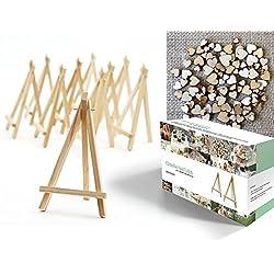Conjunto de 200 piezas con 20 mini caballetes de madera (16,5 cm) y 200 corazones de madera