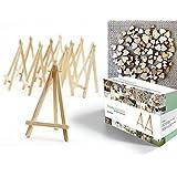 Easelia NATURA - conjunto de 200 piezas con 20 mini caballetes de madera de 16,5 cm + 200 corazones de madera de adorno - para bodas, menús, tarjeteros y proyectos de manualidades.