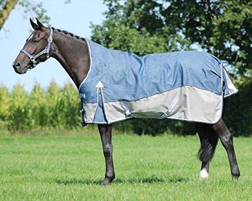 QHP Turnoutdecke Luxus High Neck Fleecefutter, Farbe Denim (135 cm)