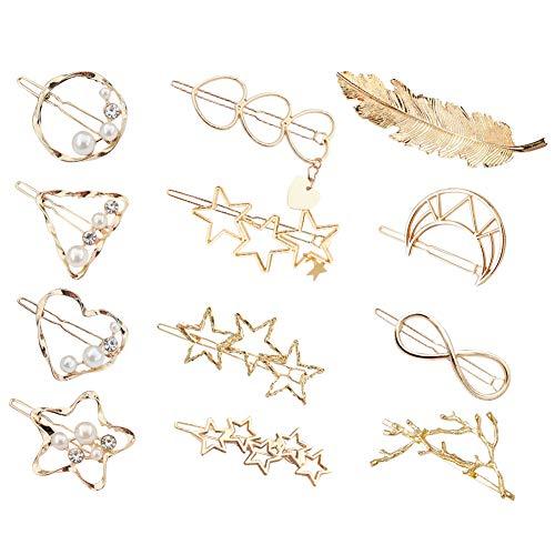 Aokebeey Haarspangen Haarnadeln, 12 Stück im Hohl-Design Metall Haarclips Perle Haarklammern Handgemacht Haarschmuck für Mädchen Dickes Haarstyling