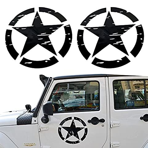Opar US Army Star Car Sticker Decal for Car / Truck / Ford F150 / Jeep Wrangler - 2PCS