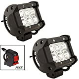 #7: AutoSun Aluminium 6 LED Universal Aux Fog Light Bar for All Bikes (Black, Set of 2) Free Switch