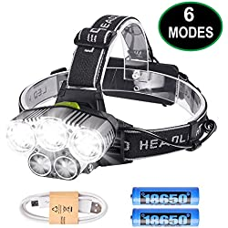 Lampe Frontale Rechargeable, Lampe Frontale Puissante Ultra USB Rechargeable 5 LED 6 Modes d'Eclairage 2 Batteries 50-200m Distance Antichoc pour Marche Running Camping Escalade Randonnée Bricolage