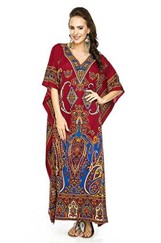 Neu Damen Überdimensional Maxi Kimono Kaftan Tunika Kaftan Damen Top Freie Größe Kastanienbraun