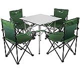 KOKR Picknick Strand Tisch und Stuhl Tragbar - Tisch- und Stuhlset, Klapptisch (70X70x70cm) + 4 X Campingstühle