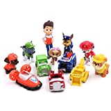 #5: 12 Pcs Paw Patrol Figure, Deluxe Cake Toppers Cupcake Decorations Party Favors Including Ryder, Marshall, Chase, Skye, 5 Vehicles, 1-2.5 inch