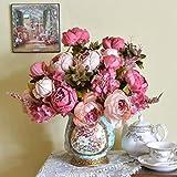 Longra Wohnaccessoires & Deko Kunstblumen 1Bouquet 8 Köpfe künstliche Pfingstrose Seide Blume Blatt Home Hochzeit Party Dekoration Fake Blume (Hot Pink)