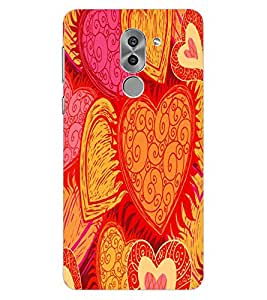 ColourCraft Hearts Pattern Design Back Case Cover for HUAWEI HONOR 6X
