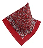 Teichmann Rotes Nickituch mit wunderschönem Blumen-Muster | Bandana aus 100% Baumwolle | 53 x 53 cm | Halstuch