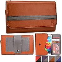Funda tipo cartera Belt Clutch de Cooper Cases(TM) para smartphones de Prestigio MultiPhone 5503 Duo / 5508 Duo / 7500 para sujetar al cinturón en Marrón / Gris (Tira para sujetar al cinturón; ranuras para tarjetas de crédito y carnets de identidad, bolsillo; diseño en dos colores)