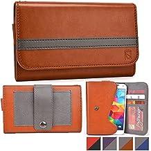 Funda tipo cartera Belt Clutch de Cooper Cases(TM) para smartphones de ZTE Nubia Z5S / Z7 Mini / Z9 Mini, Vital N9810 para sujetar al cinturón en Marrón / Gris (Tira para sujetar al cinturón; ranuras para tarjetas de crédito y carnets de identidad, bolsillo; diseño en dos colores)