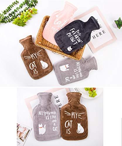 XASY Wärmflasche * 2, mit Bezug waschbar flauschig Test 1L Baby Kinderbett Flasche geschmacklos für den Winter, ältere Menschen, Kinder usw.