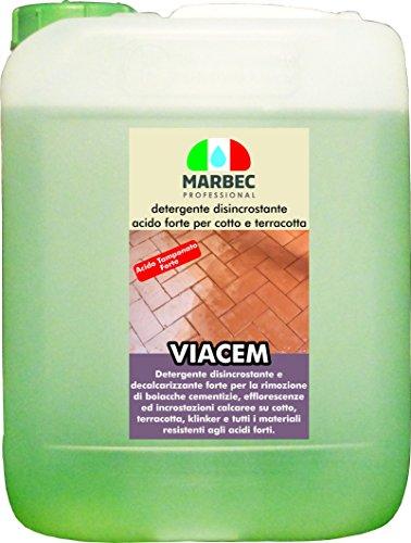 Marbec - VIACEM 5LT | Detergente disincrostante Acido Tamponato Forte per Cotto e Terracotta e Materiali Resistenti alle Sostanze acide