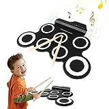 Futureway Elektro-Schlagzeug / E-Drum, für Kinder und Anfänger geeignet, aufrollbar, tragbar, Set enthält 2Fußpedale und 2Drumsticks Without built-in speaker weiß / schwarz