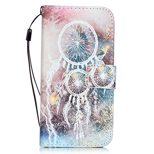 Nancen Apple iPhone 7 / 8 hülle, Flip Case Wallet Cover with Stand Function, Folio Bookstyle Handytasche Soft Silikon Bunte Muster Lederhülle Tasche PU Leder Slim Backcover Shell Handyhülle. Weiß Campanula
