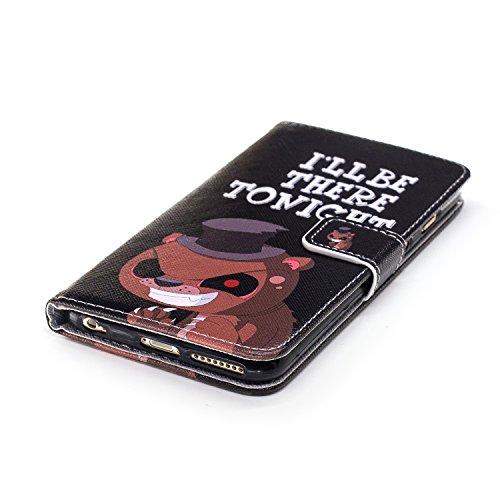Coque Housse Etui iPhone 6S Plus Cuir PU - Aeeque® Coque à Rabat Fonction Portefeuille de Carte Slots Support Bouton Magnétique Case Housse Cover Coque iPhone 6 Plus / 6S Plus 5.5 pouce [Plumes de Cam Motif #20