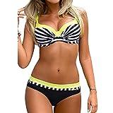 Fashionyoung FY Damen Bademode Push up Streifen Print Bikini Oberteile Große Oberweite Große Größen Brazilian Badeanzug Swimwear Beachwear Sommer Urlaub Gelb Größe L