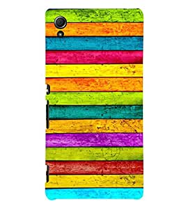 Colourful Wooden Pattern 3D Hard Polycarbonate Designer Back Case Cover for Sony Xperia Z4