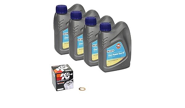 Gulf Power Trac 10w 40 Ölwechsel Set Suzuki Volusia 800 Vl 800 Bj 01 04 Motoröl K N Chrom Ölfilter Und Dichtring Auto