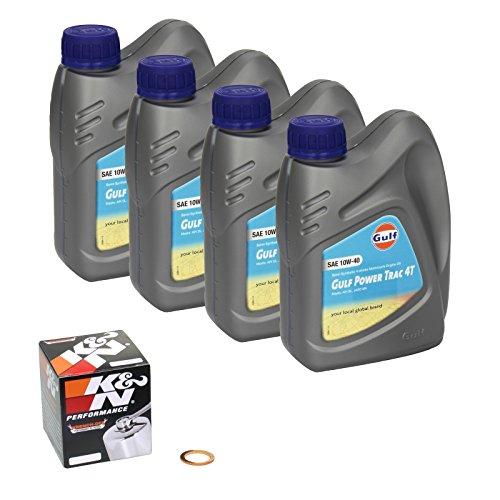 Gulf Power Trac (10W-40) Ölwechsel-Set Suzuki GSX-R 1000 Z, Bj. 2013 - Motoröl, K&N Chrom Ölfilter und Dichtring