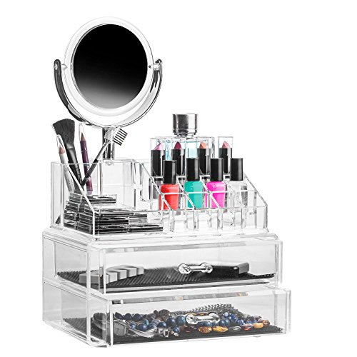 Solly´s CLAUDIA Aufbewahrungsbox mit Spiegel in transparent, Für Make Up und Schmuck, Kosmetik Organizer aus Acryl zur Aufbewahrung von Beauty Accessoires