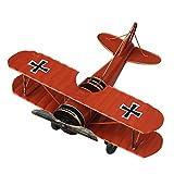 VORCOOL Vintage Flugzeug Modell Metall Doppeldecker Flugzeug Skulptur Dekoration Geschenkidee (Rot)