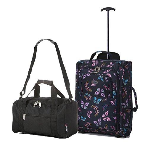Ryanair Cabine 55x40x20 cm & deuxième sac de transport Ryanair 35x20x20 - Emmenez les deux! (Marine / Noir)