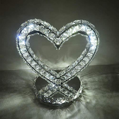 - Chrom-kristall-tisch-lampe (GXFXLP Herzförmige Tischlampe, Chrom Kristall Tisch Moderne Lampe Schlafzimmer Nachttischlampe Rund Weiß Warmweiß,Dimmable,S)