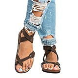 Shelers Womens Sandals Flat Ankle Buckle Gladiator Thong Flip Flop Casual Summer Shoes (38 EU-24cm(Foot Length)- UK 5, 2 Brown)