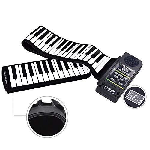Zylfn pieghevole 88 tasti flessibile morbido elettrico digitale roll up tastiera pianoforte ambientale tastiera in silicone per i bambini (nero)