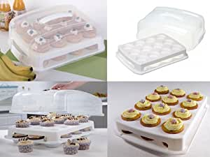 EXPRESS TRADING ® 24 CUPCAKE MUFFINS CADDY 2 TIER STACKABLE CAKE CARRIER STORAGE PARTY BOX HOLDER
