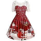 MIRRAY Damen Abendkleider Mädchen Brautkleid Mode Frohe Weihnachten Vintage Weihnachtsmann Gedruckt Lace Abend Party Kleid