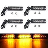 High Key Universal 4pcs Amber Cree 6 LED Recovery Strobe Warning Flashing Light Breakdown Lamp Grill 12V/24V