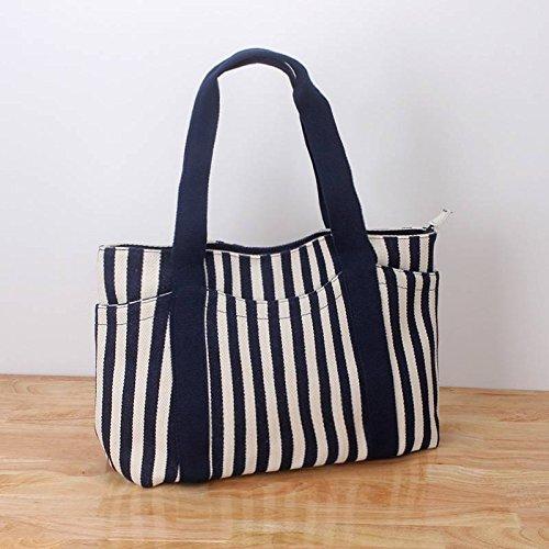 Fashion Handtaschen Gestreifte Umhängetasche Dicken Leinwand Tasche Multi-Beutel Weibliche Hand Mama Big Bag , Blau mit blauem Schulterriemen (Handtasche Blau Gestreifte)