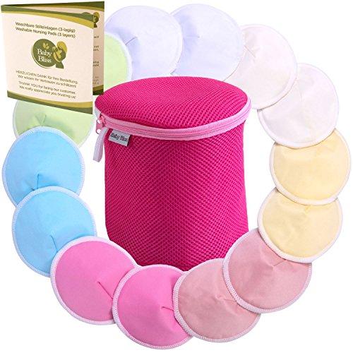 Baby Bliss® Premium-Stilleinlagen Waschbar & Konturiert | 14er-Pack + großer Wäschezylinder | Extra Weich, Super Saugstark und Auslaufsicher | Wiederverwendbar, Atmungsaktiv und Sanft zur Haut (Mehrfarbig, Groß (12cm))