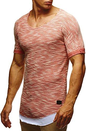 75907fec36da LEIF NELSON Herren Basic T-Shirt 2in1 Hoodie Longsleeve tiefer Rundhals Ausschnitt  Kurzarm Shirt Sweatshirt LN6360  Größe L, Lachsrosa