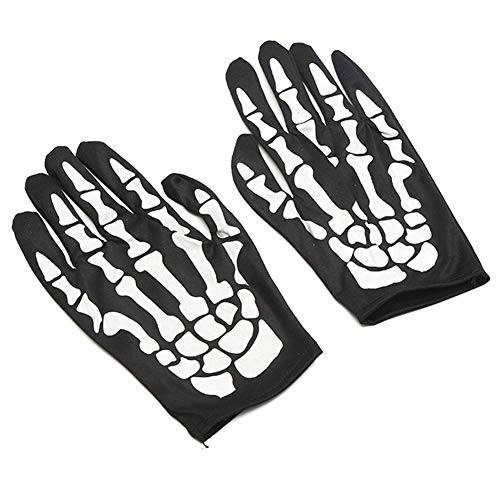 Lumon Weiß Skelett Handschuhe, Fahrradhandschuhe Halloween Horror Totenkopf Greifer Knochen, Skelett Gothic Rennen Voll Handschuhe für Erwachsene Halloween Tanz Kostüm Party