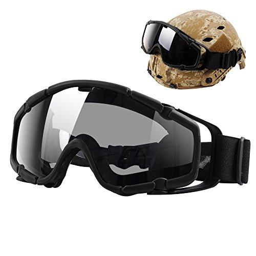 TB-FMA Airsoft Taktische Militärische Ballistische Anti-Fog Schutzbrille, Passt zu MICH Schnelle Helm mit Seitenschienen, Schwarz -