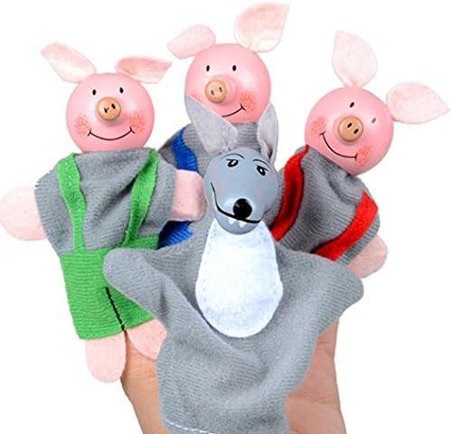 Fulltime®4pcs trois petits cochons et le loup doigt marionnettes marionnettes marionnettes marionnettes à main | De Grandes Variétés  ab6891