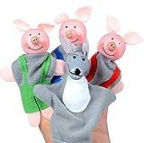 Fulltime®4pcs trois petits cochons et le loup doigt marionnettes marionnettes à main