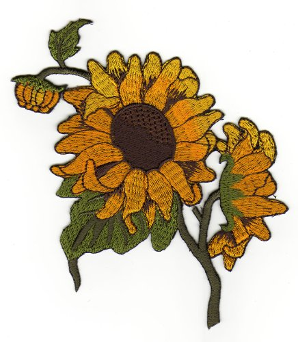 Aufnäher Bügelbild Aufbügler Iron on Patches Applikation Kinder Baby Sonnenblume Blume