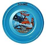 """Suppenschüssel / Müslischale / Suppenteller - incl. Name - """" Disney Planes Flugzeuge """" - aus Kunststoff / Plastikteller Plastik - Geschirr für Kinder - Flugzeug Jungen - Speiseteller - Dusty Kinderteller"""