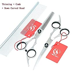 6.0 Meisha Tesoura Puppy Pet Grooming Scissors Set JP440C Clippers Pet Scissors Cutting & Thinning & Curved Dog Shears,HB0022 : HB0026 a