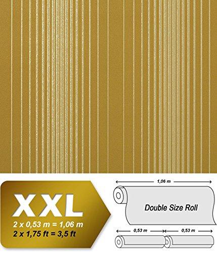 Streifen Tapete Vliestapete EDEM 973-38 XXL Tapete gestreifte Objekttapete gold bronze olive-grün senf-gelb 10,65 qm