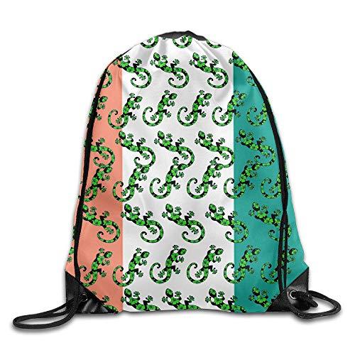 Gecko Lizard Irish Flag Unisex Drawstring Backpack Travel Sports Bag Drawstring Beam Port Backpack. -