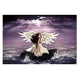 Arte stampa su tela 1 pezzi Disegno moderno di moda Soggiorno Angeli da parete Pietre d'acqua Ali Fantasia Ragazze Poster Decorazioni per la casa Stampato-50 * 70cm